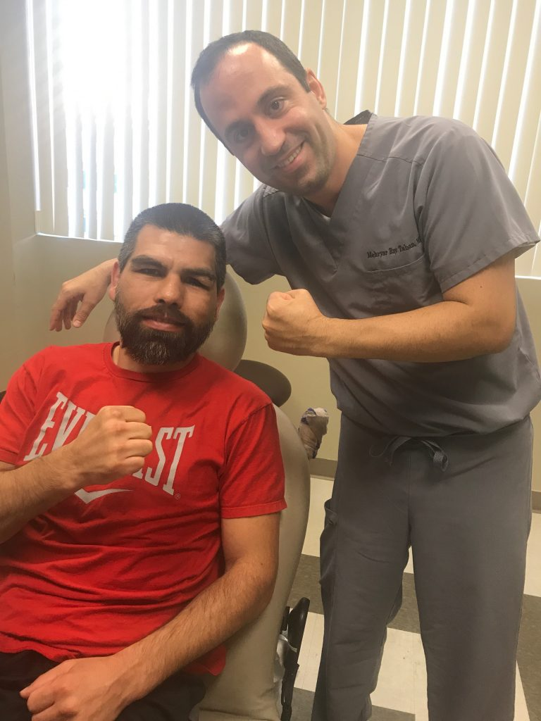 Boxer Alfredo Angulo suffered from upper eyelid/brow laceration during a boxing match. Dr. Taban repaired it in the office.