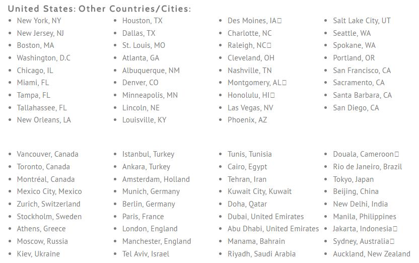 United States:Other Countries/Cities List